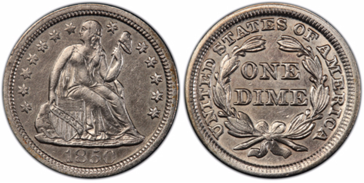 This 1850-dated Liberty Seated dime was recovered from a purser's bag on the sunken 'S.S. Central America' in 2014 and may have been intended as a day's pay for a crew member during the ship's ill-fated 1857 voyage from Panama to New York. (Photo courtesy of Professional Coin Grading Service www.PCGS.com)