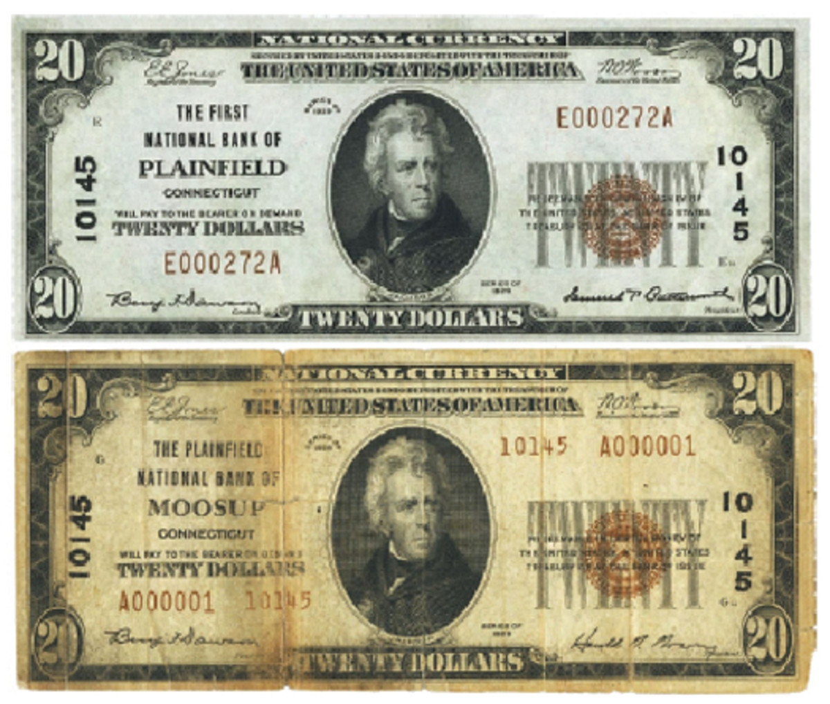 Figure 1. A Series of 1929 note issued by The First National Bank of Plainfield, Connecticut (top). After June 22, 1934, the issuing institution's name was The Plainfield National Bank of Moosup (bottom).