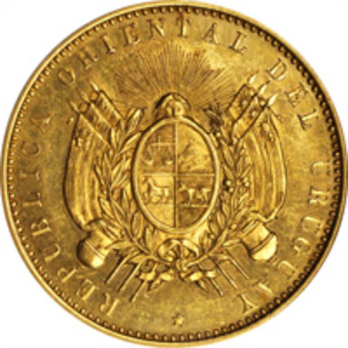 Extremely rare 1870 Uruguay pattern gold doblon (= 10 pesos) of 1870 and Freiberg plate coin, ex Newcomer-Clapp-Eliasberg collections. It was bid up to $66,000 in NGC PROOF-62. (Image courtesy Stack's Bowers)