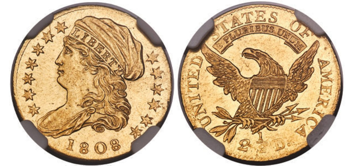 This 1808 quarter eagle graded MS-68 by NGC is sure to be a crowd pleaser for gold rarity enthusiasts. (All images courtesy Heritage Auctions)