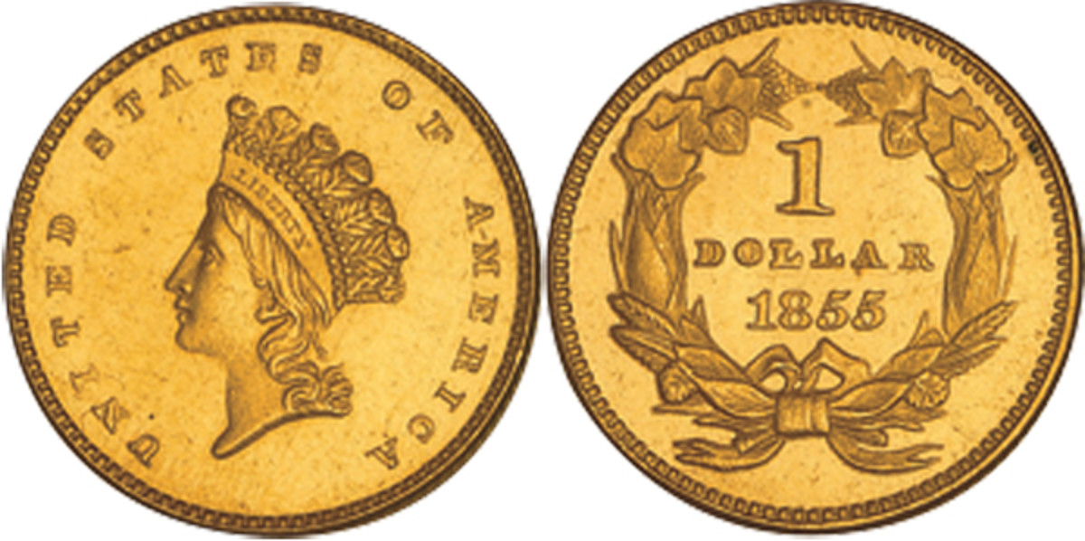 A 1855 type two Indian Head gold dollar coin.