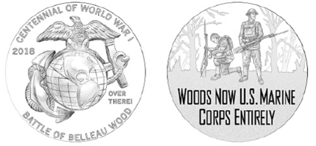 The Marines medal has a view after victory in the Battle of Belleau Wood.