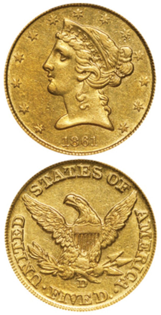 As control of the Dahlonega Mint moved from the United States to the state of Georgia to the Confederate States of America in the early days of the Civil War, questions remain on how many 1861-D half eagles were struck and under what authority. (Images courtesy www.usacoinbook.com)