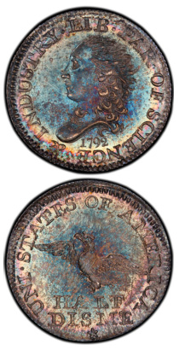 The finest-known 1792 half disme, graded PCGS MS68 and formerly owned by the first United States Mint Director David Rittenhouse, has been sold for a record of nearly $2 million by Brian Hendelson of Classic Coin Company. (Photo credit: Professional Coin Grading Service www.PCGS.com.)