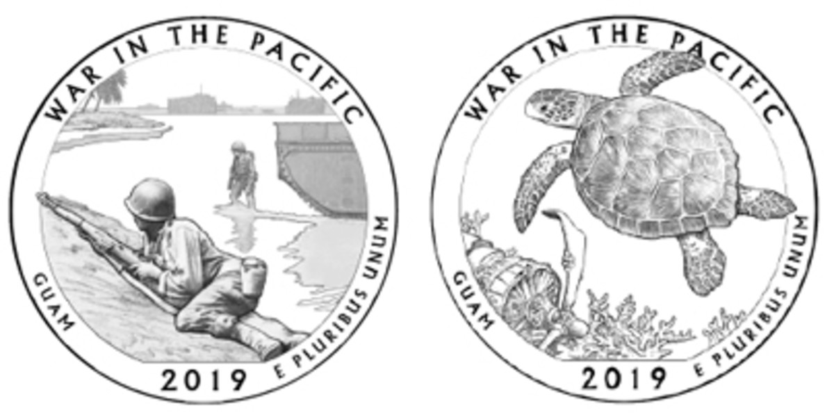 CCAC members debated whether the war scene depicted in Design 03 (left) or the nature-focused theme of Design 06 was most appropriate for the War in the Pacific quarter. Design 03 got the nod.