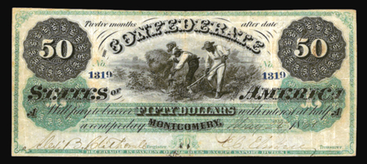CSA $50 (P-1, Cr-4, PF-2) of May 22, 1861. It came endorsed on the standard blank back by A. J. Guirot, Assistant Treasurer of the Confederate States, and took a comfortable $8,400 in PMG Very Fine 25. (Image courtesy & © Spink New York)