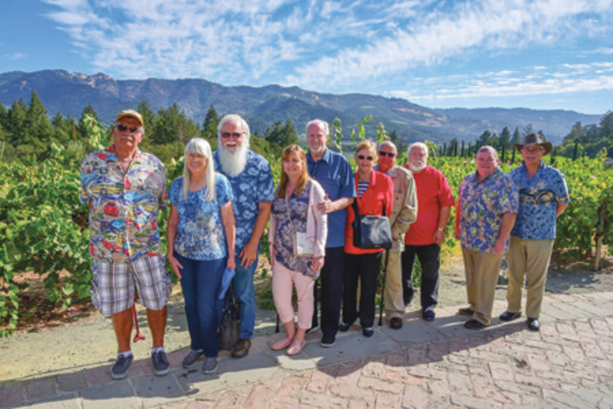 With the world-famous Napa Valley as background, standing left to right are Michael S. Turrini, Debbie and William D. Hyder, Debbie and Scott Douglas, Lois and Clyde Homen, Don Hill, Xan Chamberlain, and Fred G. van den Haak. (Photos courtesy of Lloyd Chan)