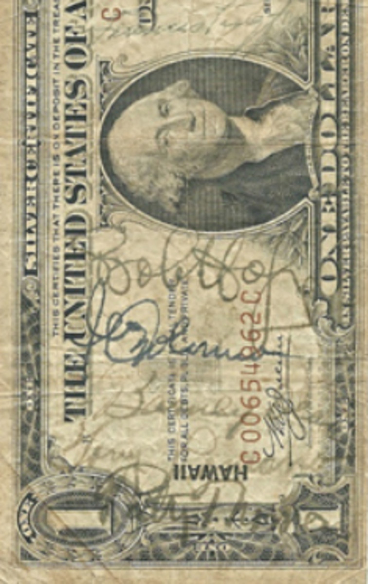 This Series of 1935-A $1 HAWAII note features signatures of Bob Hope and his entire USO entertainment troupe. (Image courtesy Mark Hotz)