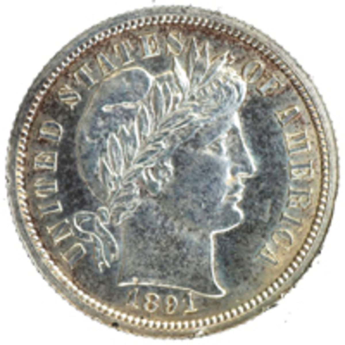 Shown is an 1891 pattern for the Barber dime.