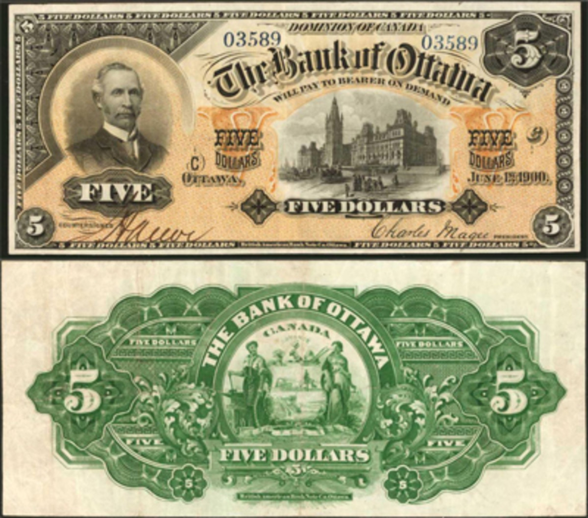 Lot #30135 was a Canada 1900 The Bank of Ottawa 5 dollars. Graded PMG VF-25 EPQ, this note hammered above estimate at $30,000.