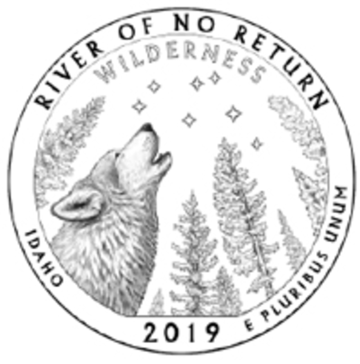 A wolf, a remote forest and a vast, starry sky won the CCAC's affection for Design 05A for the River of No Return Wilderness quarter design.
