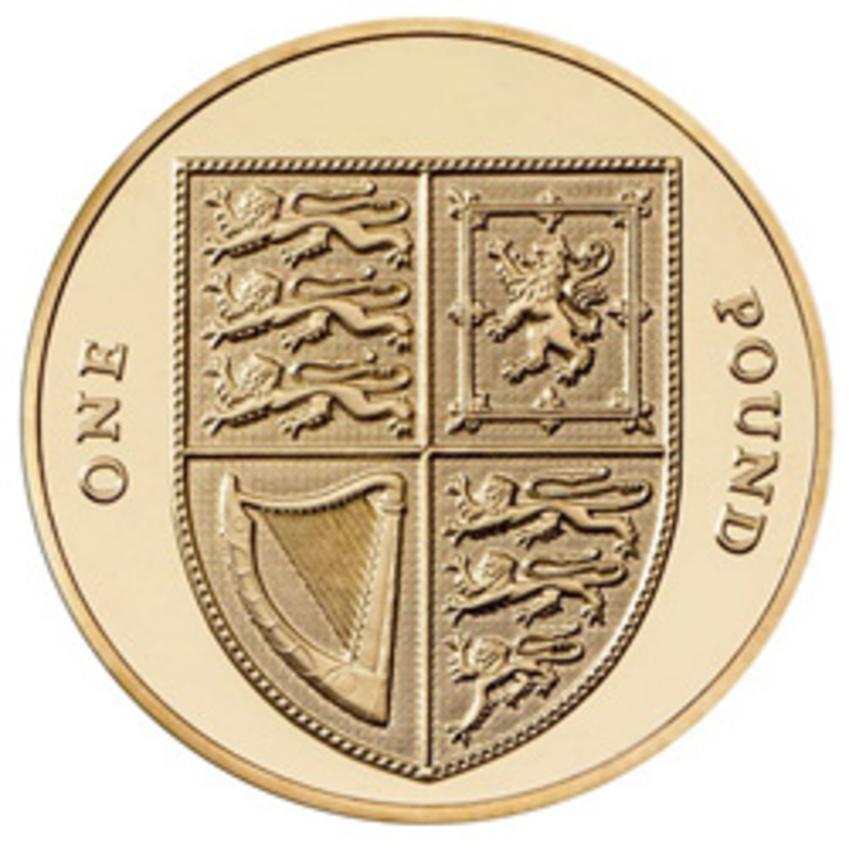 Reverse of the nickel-brass round £1 coin featuring the Shield of the Royal Arms (KM1113) in use between 2008 and 2017. (Image courtesy www.royalmint.com)