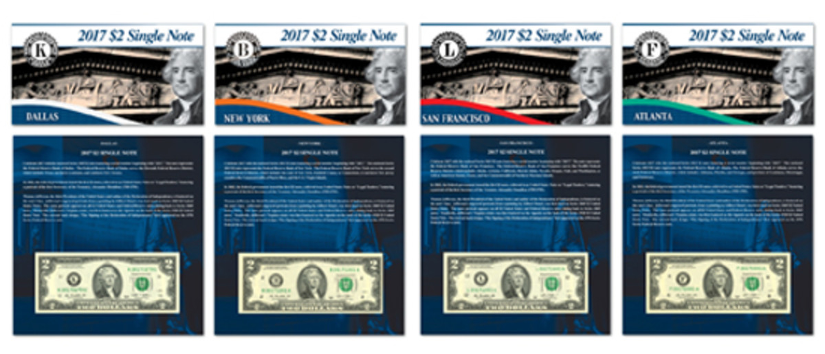 The new Bureau of Engraving and Printing 2017 $2 Single Note Collection features Series 2013 and Series 2009 notes from four Federal Reserve Banks.