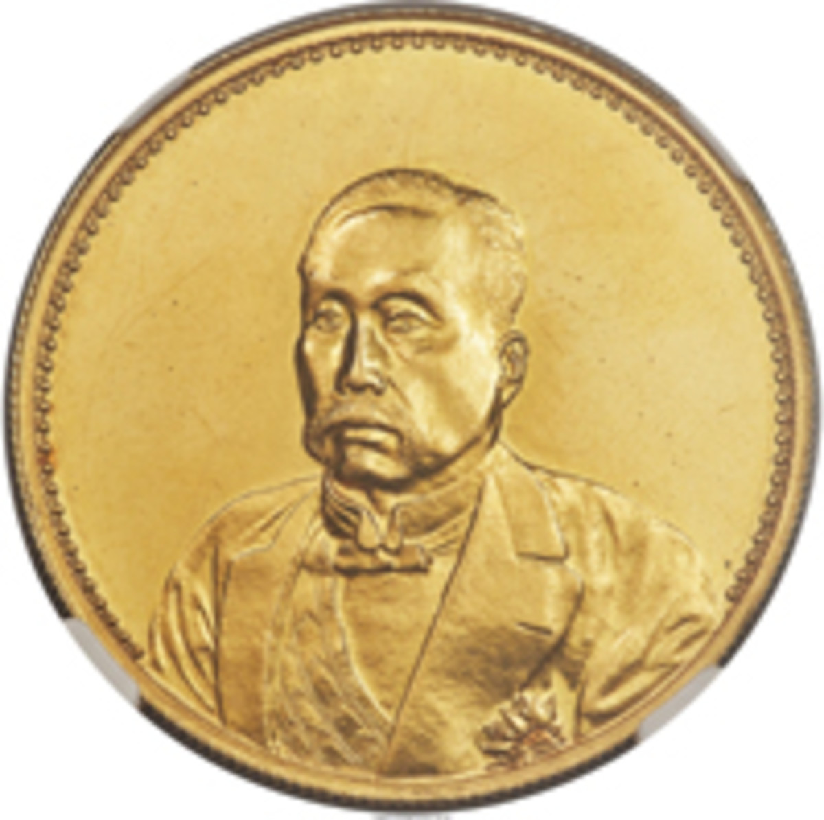 "Obverse of gold pattern ""Pavilion"" dollar (KM-Pn62) struck to commemorate General Hsu Shih-Chang's succession to the presidency three years after the event. In near gem condition it took $62,737.50. (Image courtesy and © www.ha.com)"