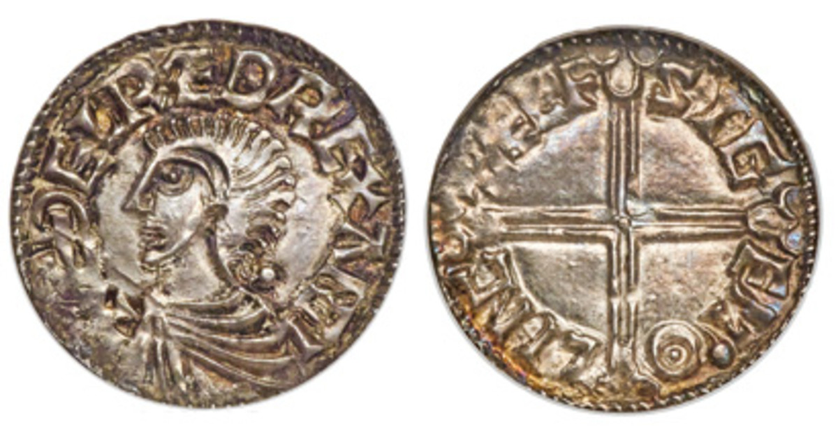 Æthelred II (978-1016) penny ND MS63 NGC. (Images courtesy of Heritage Auctions)