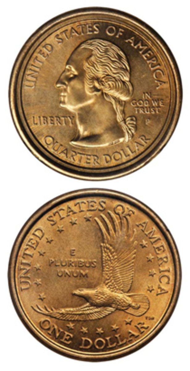 An example of the 2000-P error coin, which has a Washington quarter obverse muled with the reverse of a Sacagawea dollar. (Image courtesy www.pcgs.com)