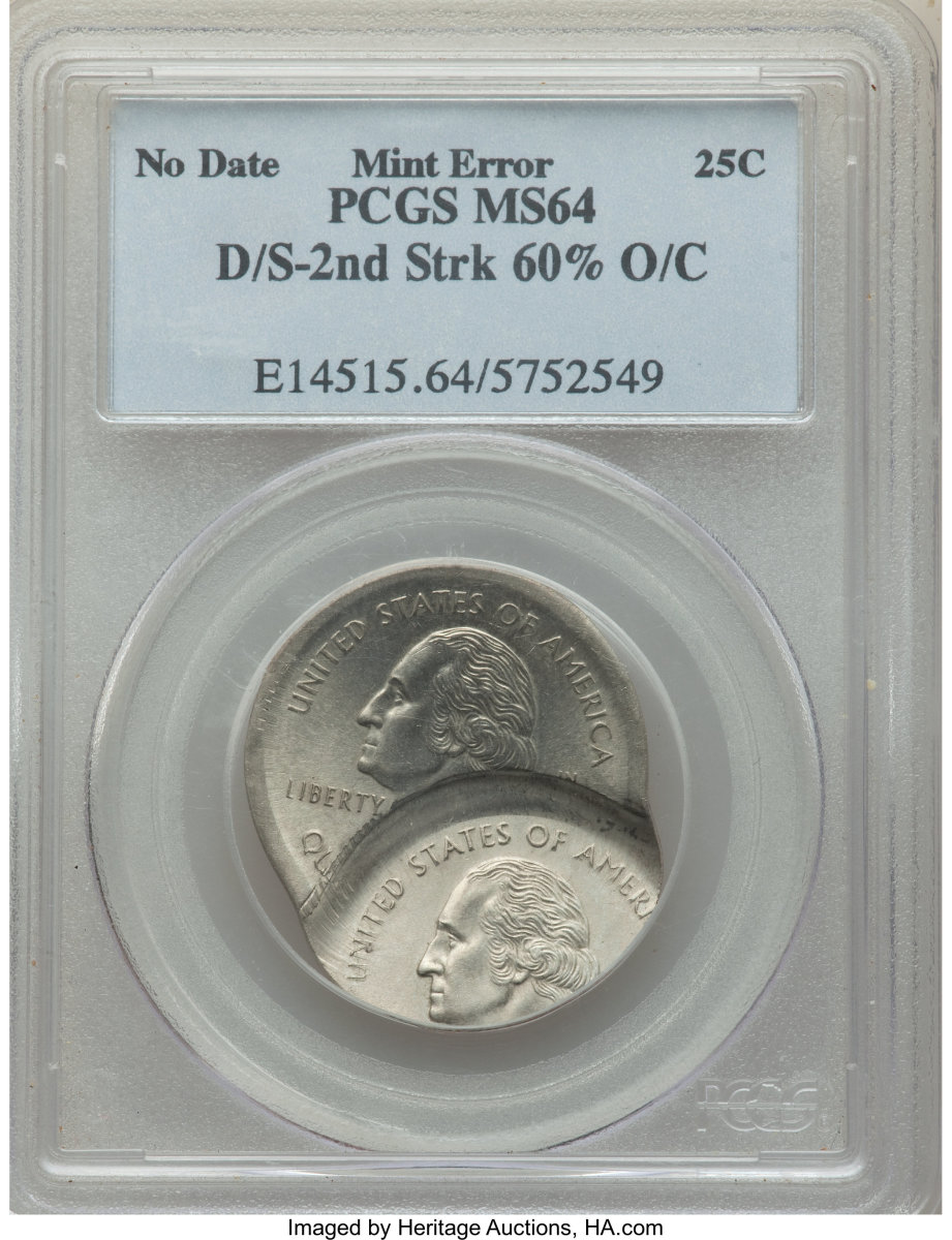What a fun find!  While this obvious error only sold for $528, it's a fun one to see.  Labeled a 1999-? 25C Connecticut Statehood quarter – double struck, it's graded MS-64 PCGS.  The first strike was a centered broadstrike on a Type One planchet. The second strike was widely off-center toward 6:30, at 5 o'clock relative to the first strike. Both clock measurements are relative to the Washington side. A planchet (not included) was fed between strikes, and was struck between the statehood die and the statehood side from the first strike. The date (from the first strike) is bold. The mintmark is absent, overlapped by the second strike which has its mintmark off the flan.