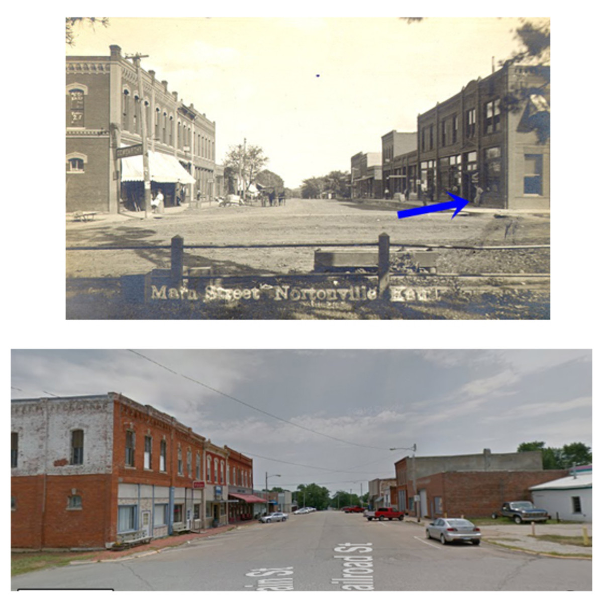 TOP: This vintage photo shows Main Street in Nortonville, Kan., circa 1915. The First National Bank block is at right foreground, marked with an arrow. This block also housed Nortonville's post office and a bakery. Sadly, this majestic block was destroyed by fire in 1936. BOTTOM: This photo shows the exact street scene on Main Street in Nortonville as illustrated in the 1915 photo. Note that a vacant lot sits where the First National Bank block once stood.