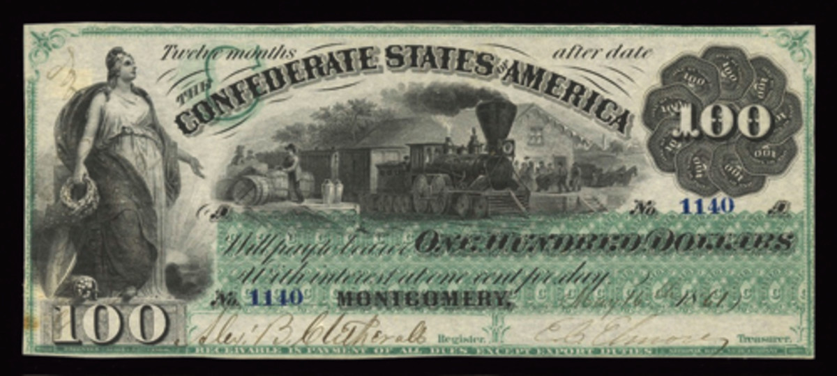 CSA $100 (P-2, Cr-2, PF-1) dated May 16, 1861. In a desirable PMG 50 About Uncirculated Net grade, it fetched $10,800. (Image courtesy & © Spink New York)