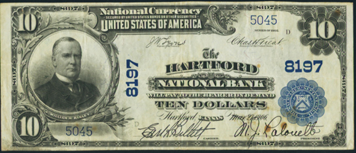 This Series of 1902 $10 Plain Back was issued by the Hartford National Bank in Hartford, Kan. The little small town with its attractive bank led the author to add this note to his collection. Note the lovely pen signatures of Earl Billett, cashier, and M.J. Lalouette, president.