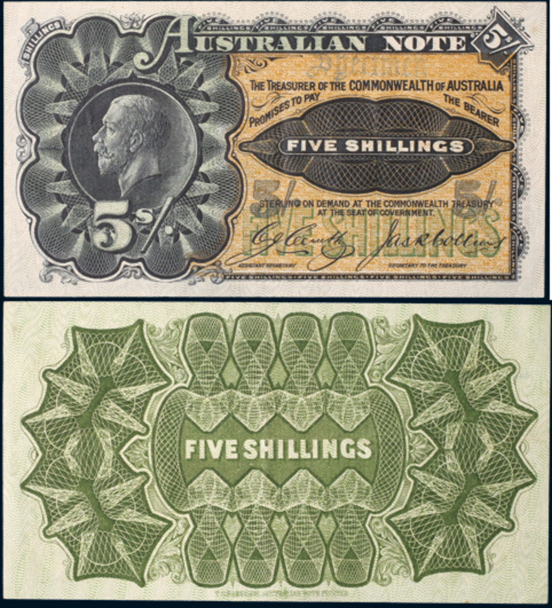 Face and back of the extremely rare specimen Australian 5 shillings note sold by Noble Numismatics in November for $59,422. (Images courtesy Noble Numismatics)