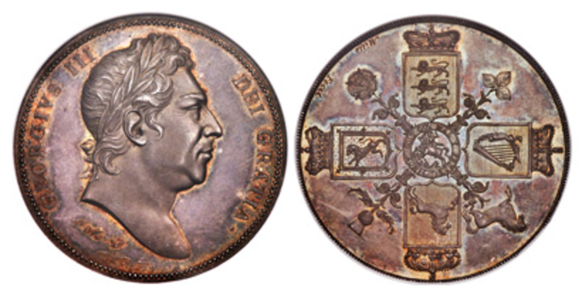 George III Proof pattern crown ND (1820) PR64 NGC, Bull-2055, ESC-221. (Images courtesy of Heritage Auctions)