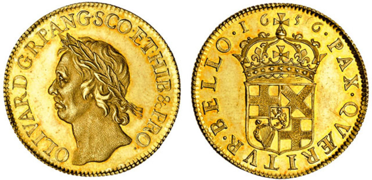 The superb gold broad of 1656 showing the laureate head of the Lord Protector of that realized $44,944 in Spink's June sale. Image courtesy Spink, London.