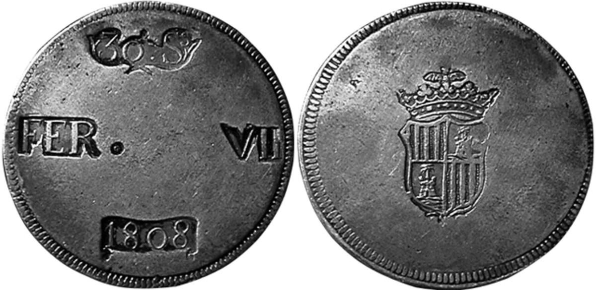 "The Ferdinand supporters issued some funny money too, such as this 8 reales sized ""30 sueldos"" struck in Palma de Majorca. (Actual size, 38mm)"