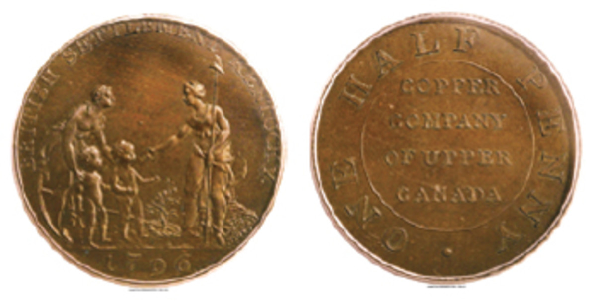 Extremely Rare Myddelton/Copper Company of Upper Canada mule (Breen-1076). The 1796 obverse legend referring to a British Settlement is, of course, at odds with Kentucky being admitted to the Union on June 1, 1792. (Image www.ha.com)