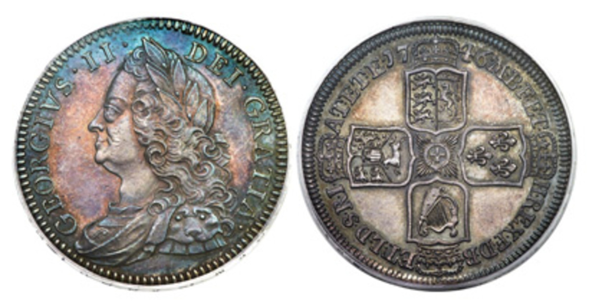 George II Proof half crown 1746 PR63 PCGS, KM584.2, S-3696, ESC-608. (Images courtesy of Heritage Auctions)