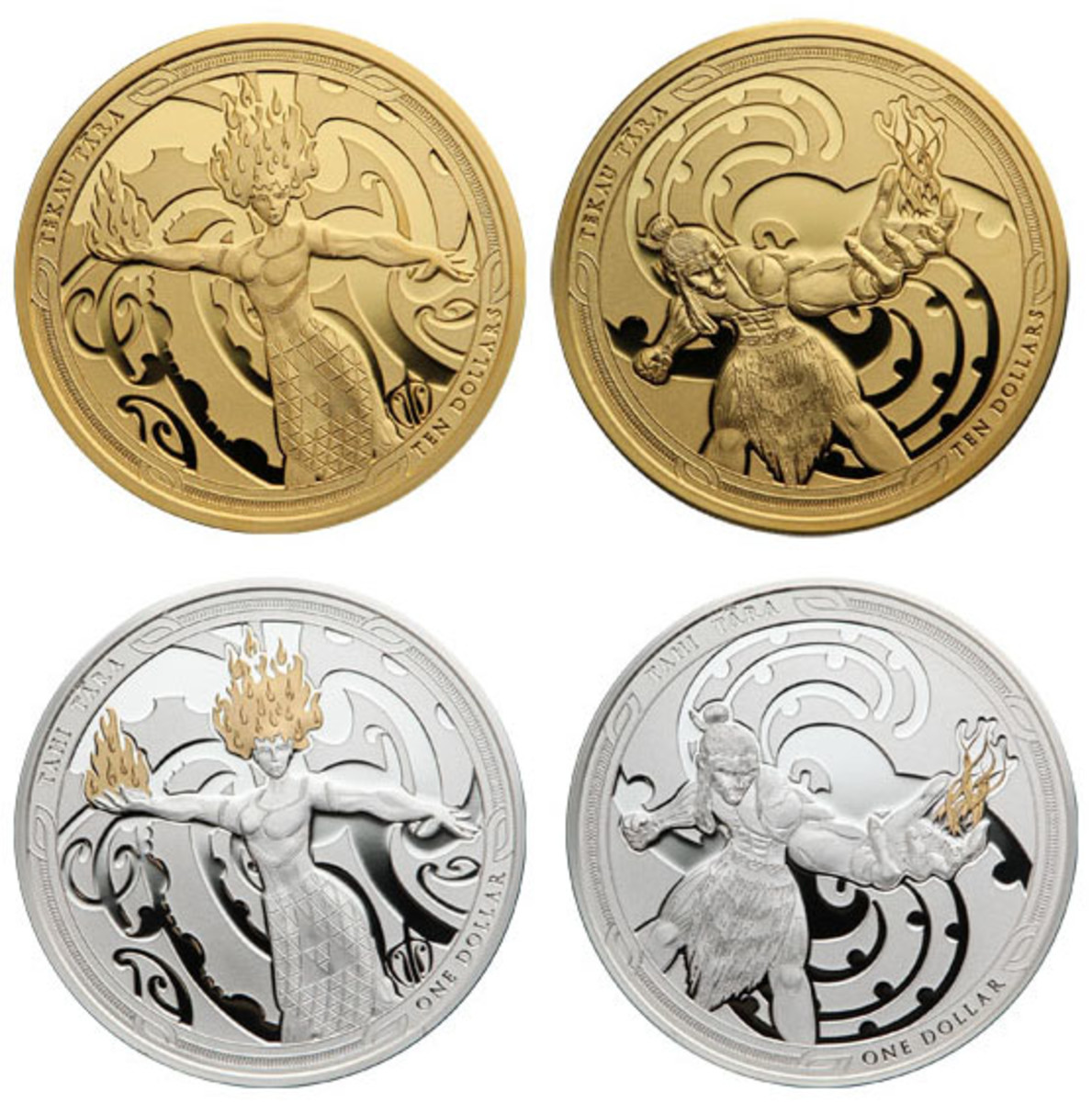 Fire goddess Mahuika (obverses) is poised to throw a fiery curve ball at recalcitrant grandson Māui (reverses) of gold $10s and partially-gilded silver proof $1s, the latest in a New Zealand series telling the legends of the cultural hero Maui-tikitiki. (Images courtesy of New Zealand Post.)