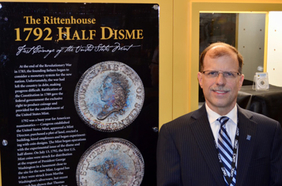 Brian Hendelson, President of Classic Coin Company, at the ANA 2018 Philadelphia World's Fair of Money® exhibit of the Rittenhouse 1792 half disme. (Photo credit: Donn Pearlman)