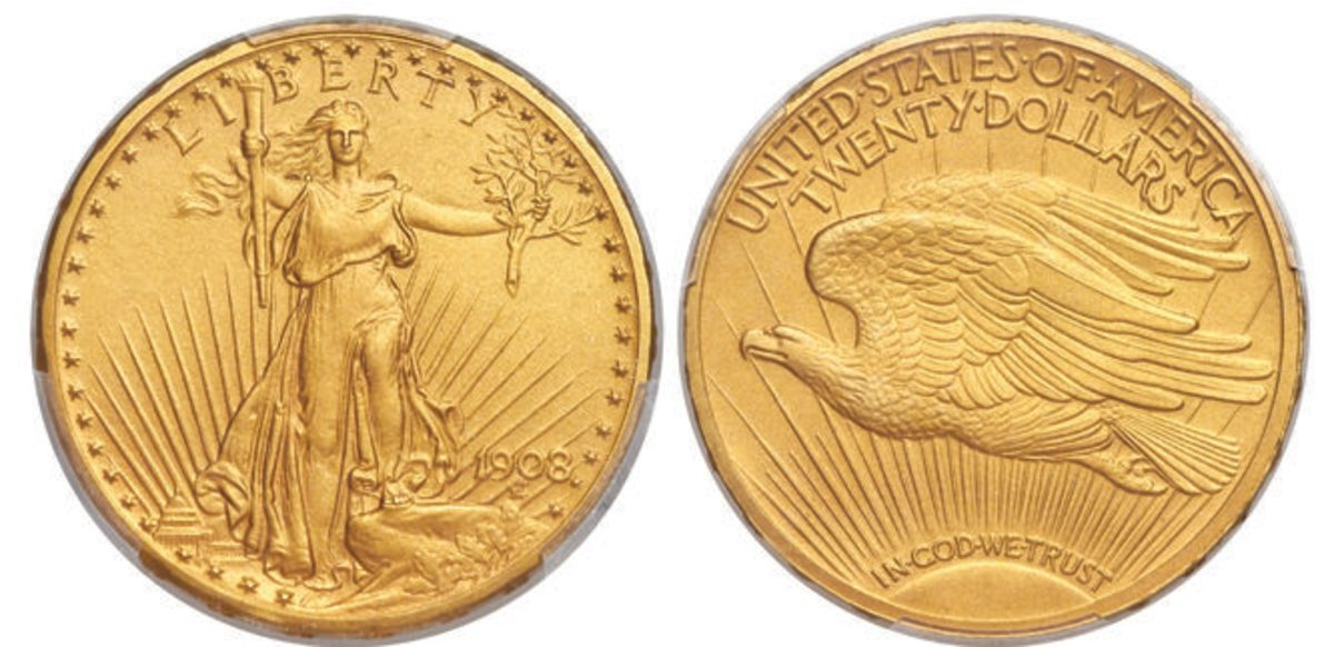 The 1908 Motto double eagle graded PR-66+ that sold for $180,000.