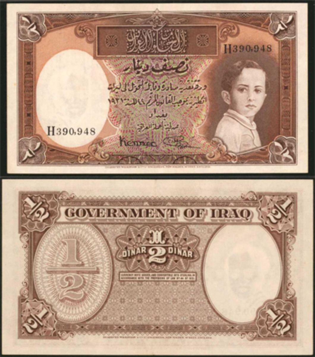 Lot #30282 was a 1931 (ND 1935) Iraq Government of Iraq half dinar. Graded PMG AU-55 EPQ, this note featured the signatures of Lord Kennet and Shakir al Wadi. It sold slightly below estimate at $9,000.