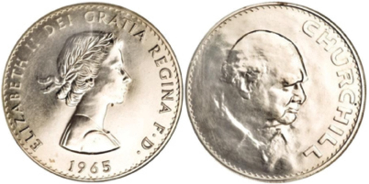 Shown is the 1965 Churchill commemorative crown featuring Queen Elizabeth II on the obverse and Winston Churchill on the reverse. (Image courtesy of PCGS)