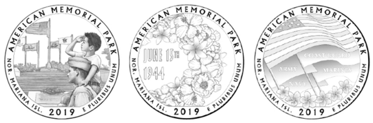 Designs 01, 03 and 06A (from left) were the favorites for the American Memorial Park quarter design, with 01 getting the most votes.