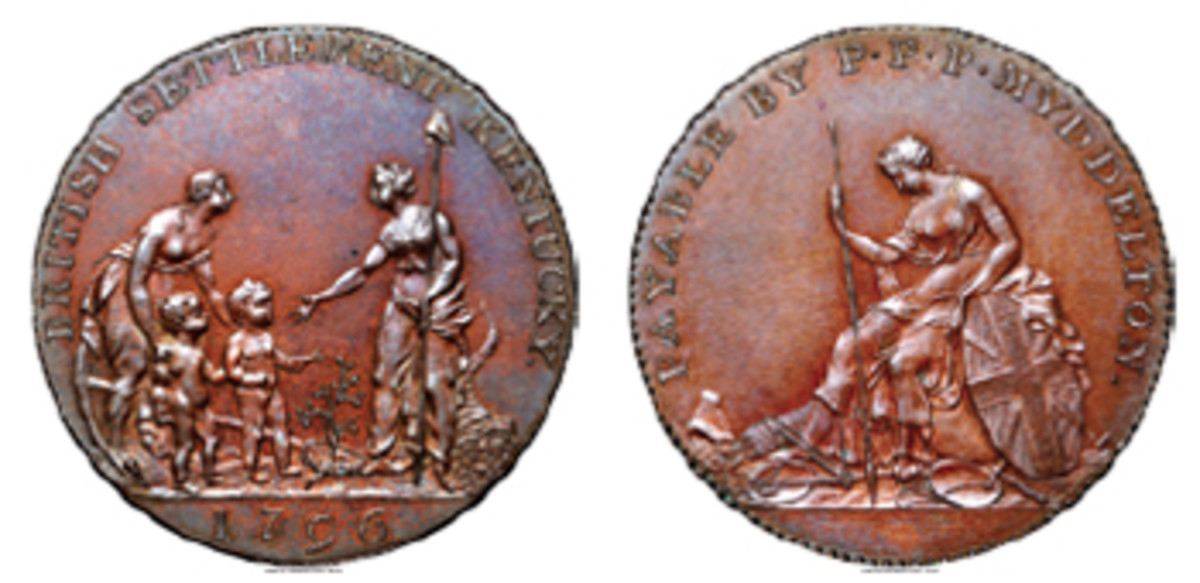 """Choice Rarity: 1796 Myddelton token in copper ex-Roper collection, ex-Eric P. Newman Numismatic Education Society (Breen-1074, W-8900, R.7). The Soho Mint website, http://sohomint.info, observes, """"Küchler really had fun with this one, and his engraving represents an exuberant example of 18th century kitsch."""" (Image www.ha.com)"""