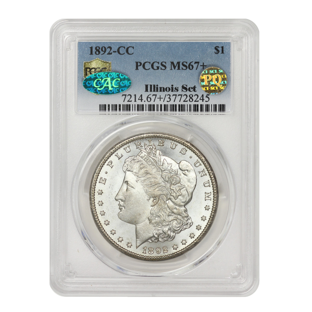 The finest known 1892-CC, graded PCGS MS67+ CAC/PQ with none graded higher, is one of the highlights of the 117-coin, all-time finest Illinois Set Collection of Morgan dollars now being offered intact for $9.7 million. (Photo courtesy of Mint State Gold by Stuppler and Company.)