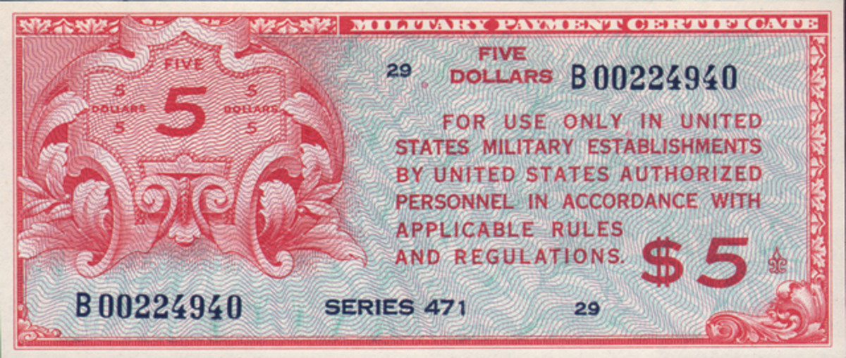 Uncirculated Series 471 $5 replacement from Paymaster Collection. Previously the finest known was in Fine condition.