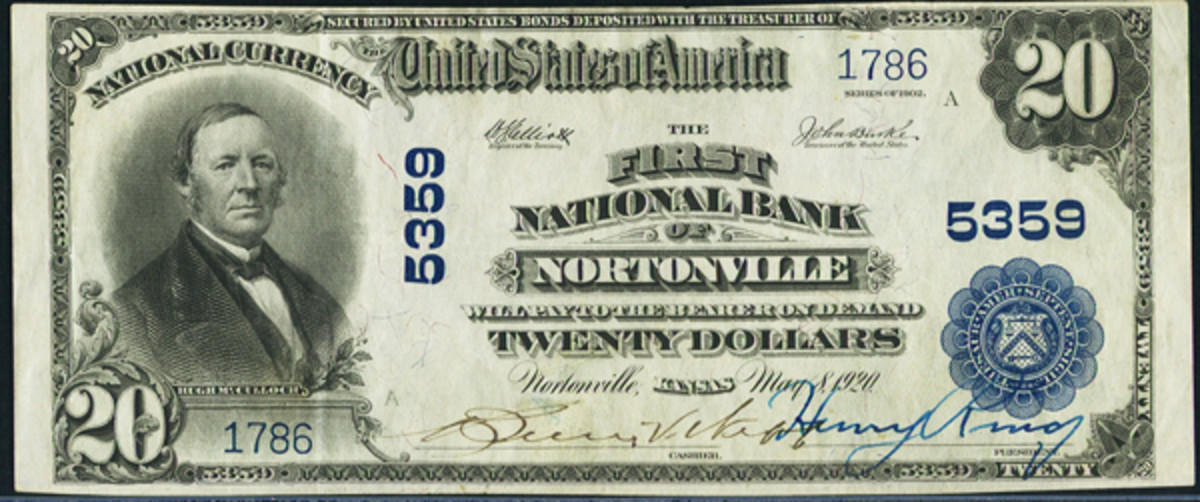 This lovely Series of 1902 $20 note was issued by the First National Bank of Nortonville, Kan. Note the lovely pen signatures of Bessie V. Webb, cashier, and Henry Ring, president. From the author's collection.