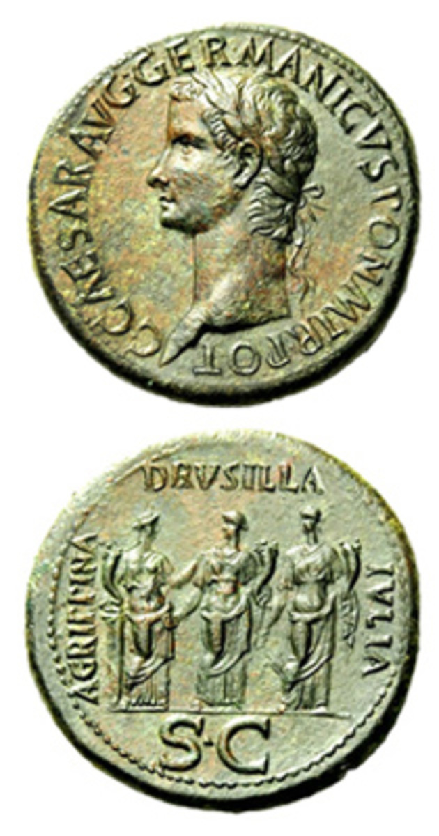 """Sestertius coin, part of the """"Twelve Ceasars,"""" bears a portrait of the ruler seen as notorious and nefarius in his ruling. The reverse features the three sisters of Caligula, as well as their names (Drusilla, Julia, and Agrippina). Appearing on the coin didn't appear to be a good omen for the three."""