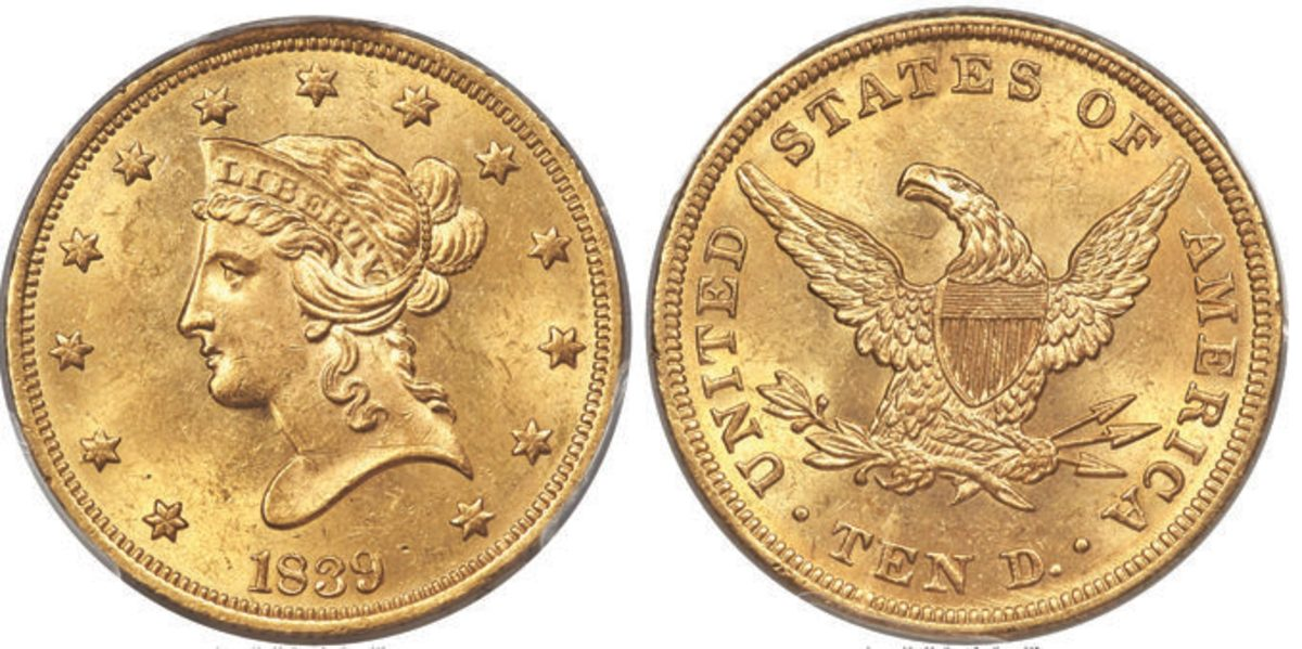 The 1839/8 Type of 1838 $10 graded MS-63 that realized $114,000.