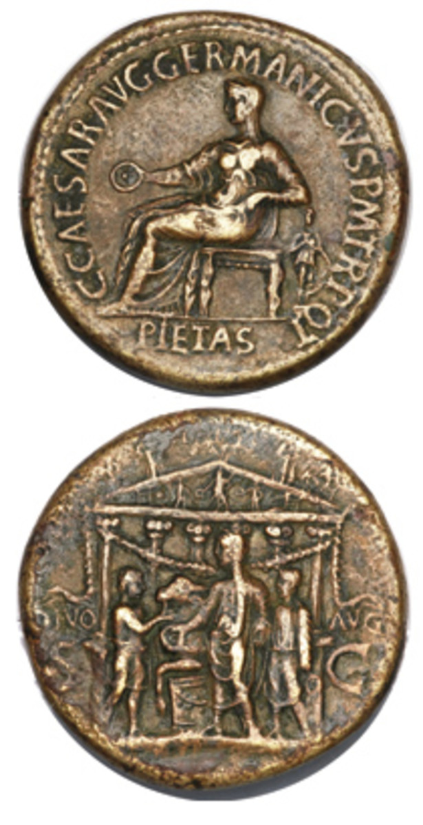 Another example of a coin issued during the reign of Gaius Caligula. The coin commemorates the dedication of the temple of the Divine Augustus in A.D. 37 and depicts Caligula officiating as pontifex maxium. The dedication was of importance to Caligula to emphasize his connection to Augustus. (Image courtesy Heritage Auctions)