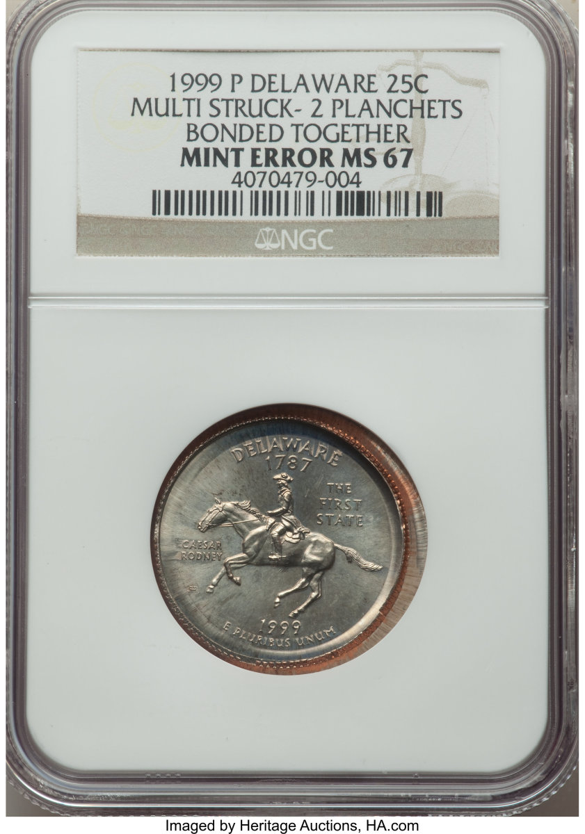 Selling for $2,100, this example shows a 1999-P Delaware quarter which was multi struck on two planchets that are bonded together.  Instead of being ejected after initial strike, it clung to the statehood die and became a die cap. Before the last strike, a planchet was fed in, and the strike bonded the two pieces together.  (Image courtesy of Heritage Auctions)
