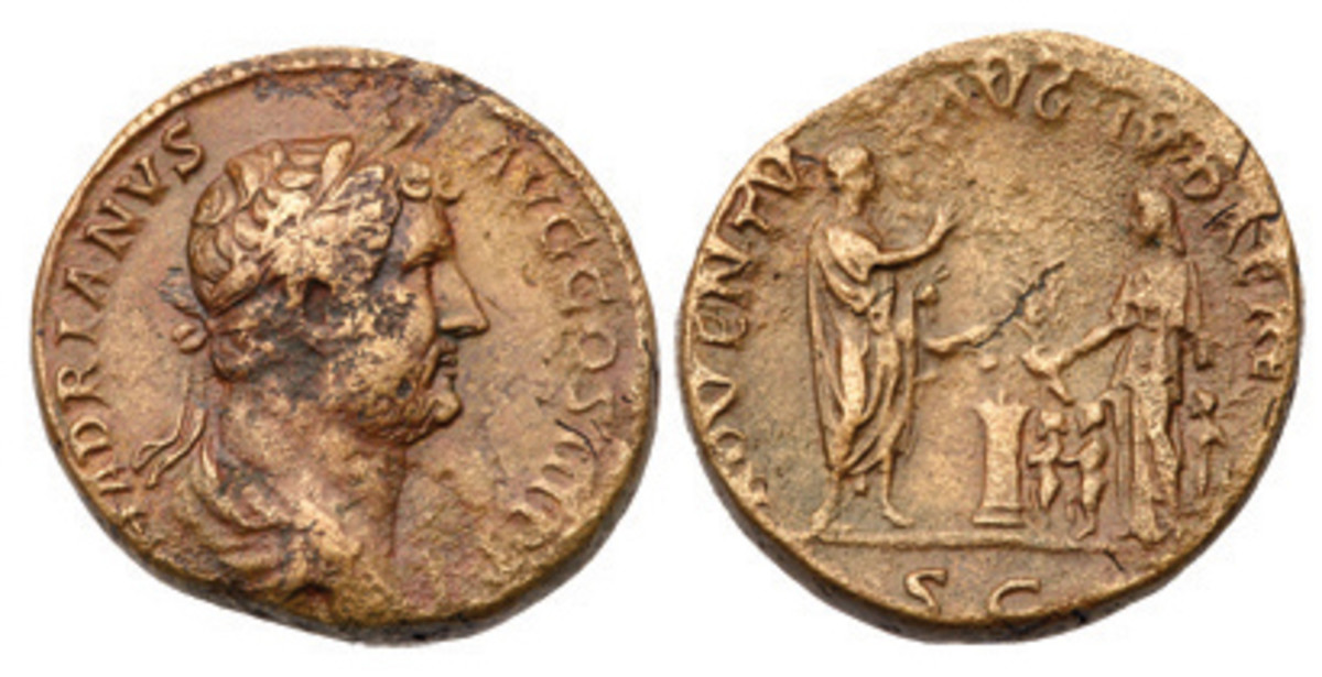 "Hadrian's ADVENTU AUG JUDAEA coin is a virtually unknown ""as"" denomination. Note that the name sestertius means ""two and one half,"" referring to its nominal value of two and a half asses."