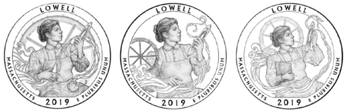 "Design set 10, 11 and 12 (from left) for Lowell National Historical Park depicts a ""mill girl"" spinning thread that is stylized to look like water and a water wheel. The Citizens Coinage Advisory Committee settled on Design 11 (center) as its recommendation."