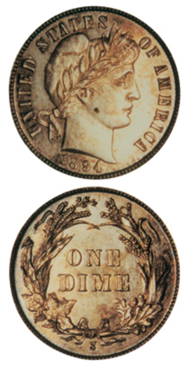The 1894-S is the most famous of the Barber dimes.