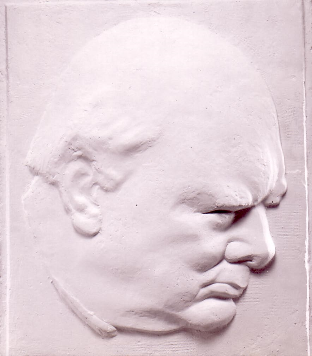 Oscar Nemon's daughter, Aurelia Young, has graciously provided this photo of Nemon's profile of Churchill in relief, which she believes her father may have used for the crown.