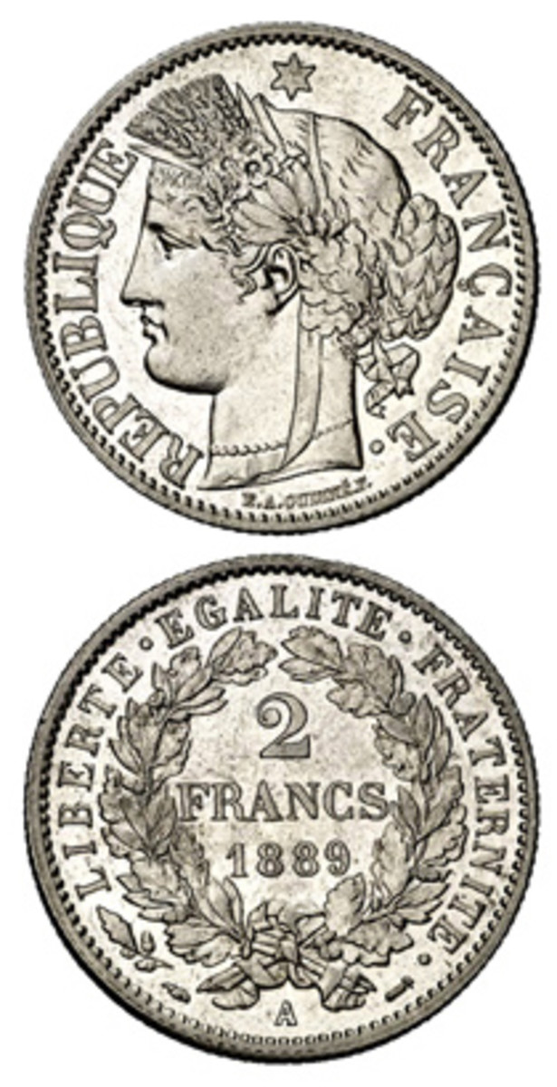 The head of Liberty on French coinage was the model for American version by Charles Barber.
