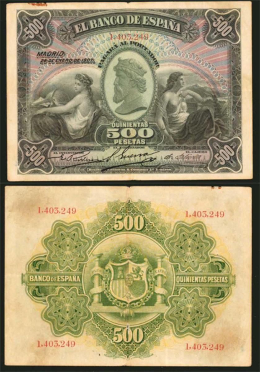 Lot #30443  was a 1907 Spain Banco de Espana 500 pesetas. Graded PMG VF-30, the note sold for $1,080.